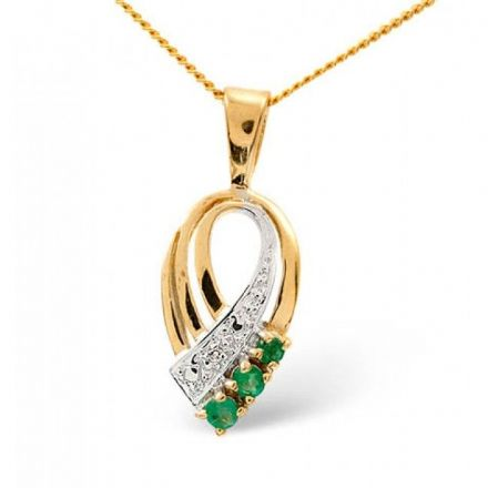 9K Gold 2.25mm x 2.25mm Emerald Pendant, Z1038